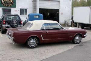 65 Mustang Convertible Burgundy and White